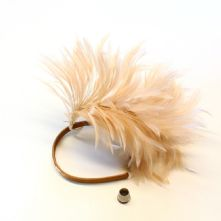 Beige Stripped Hackle Feather Mount